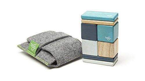 - 8 Piece Tegu Pocket Pouch Magnetic Wooden Block Set, Blue