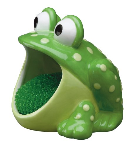 - Boston Warehouse 75483 Frog Scrubby Holder with Non-scratch Dish Scrubber, Hand Painted Ceramic