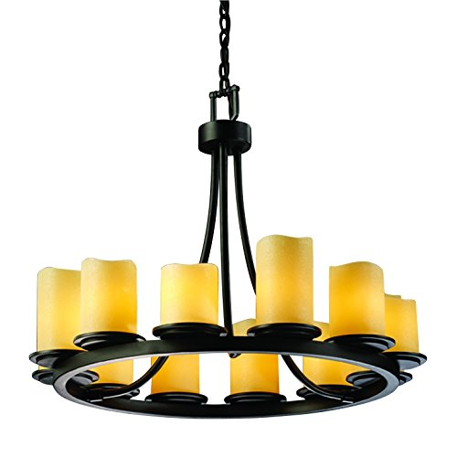 Justice Design Group CandleAria 12-Light Chandelier - Matte Black Finish with Amber Faux Candle Resin Shade Matte Black Candlearia Chandelier