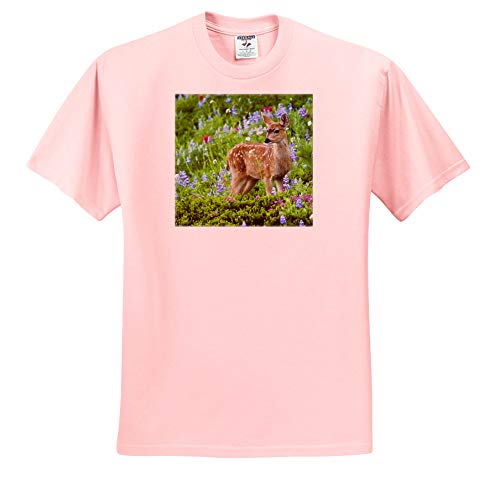 (3dRose Danita Delimont - Deer - Black-Tail Deer Fawn, Cascade Wildflowers - Adult Light-Pink-T-Shirt Small (ts_315167_34))
