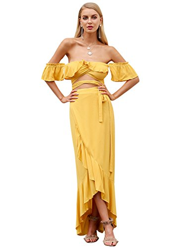 Simplee Women's Crop Top Maxi Skirt Set 2 Piece Outfit Nightclub ()