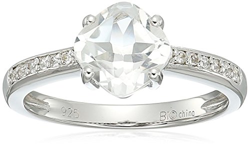 sterling silver white topaz ring, size 6