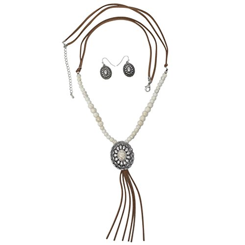 Gypsy Jewels Long Faux Suede Tassel Fringe Western Style Necklace & Earrings Set - Assorted Styles (Ivory Stone Concho)