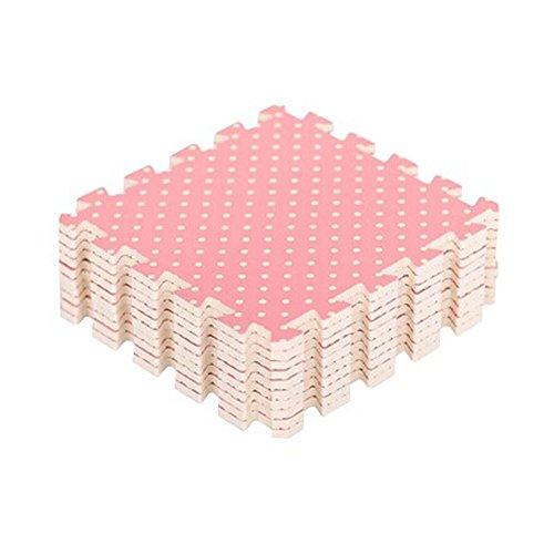 Polka Dots Interlocking Foam Tiles EVA Foam Floor Mats (8.64 Sqft, 9 Tiles,Pink)