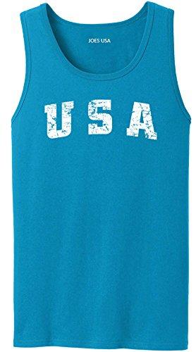 Joe's USA Vintage USA Logo Heavyweight Cotton Tank Top-3XL-Royal/w by Joe's USA