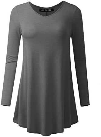 ALL FOR YOU Women's Long Sleeve V-neck Flare Hem Tunic Made in USA