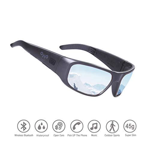 Waterproof Bluetooth Sunglasses,Open Ear Wireless Sunglasses with Polarized UV400 Protection Safety Lenses,Unisex Design Sport Headset for All Smart Phones (Black Frame Mirror Silver Lens)
