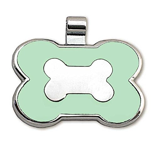 - LuckyPet Pet ID Tag - Bone Shaped Jewelry Tag - Beautiful Enamel on Front - Custom Engraved on Back Side - Easy To Read Laser Engraving - Size: Small, Color Mint