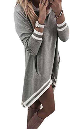 Irregular Top Women Fashion Casual s Dress Tunic Comfy Grey Hood Stripe P7pAaq