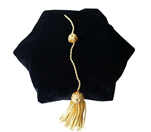 Grad Days Doctoral Graduation Tam Unisex Black Velvet 6-Sided with Gold Bullion Tassel Satin Silk Band