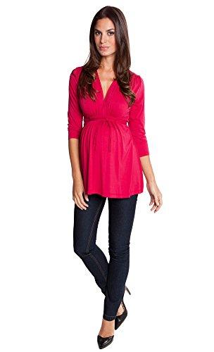 The V-neck Shirred Shoulder 3/4 Sleeve Top (Medium, Red) - Olian Maternity 3/4 Sleeve Top