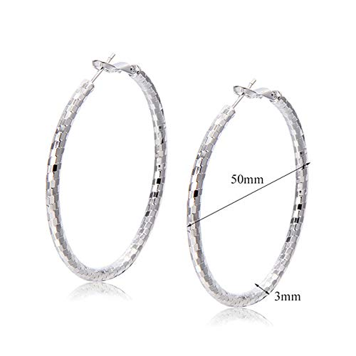 Stud Earrings - 1 Pair Fashion Jewelry Earrings Silver Color Earrings Simple Earrings Circle Hoop Earrings for Women Girl - Earrings For Women