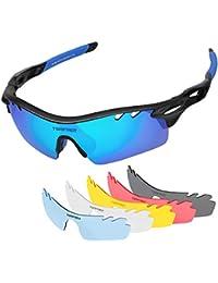 anteojos de sol polarizadas anteojos de deporte con 6Lentes Intercambiables, tsafrer TR90gafas de sol irrompibles...