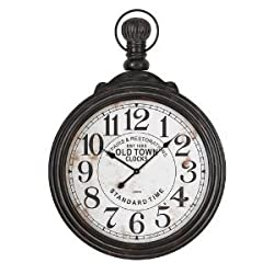 Aspire Home Accents Large Pocket Watch Style Wall Clock - 28 in. Wide