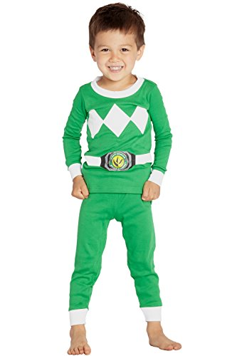 Power Ranger Boys' Toddler Mighty Morphin Pajama Set, Green, -