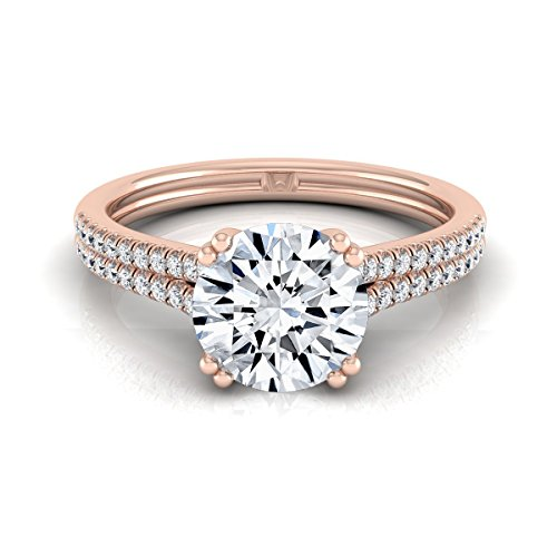 (14K Rose Gold Pave Set 3/4 ct. t.w. Round Brilliant Cut Diamond Engagement Ring, Size 6)