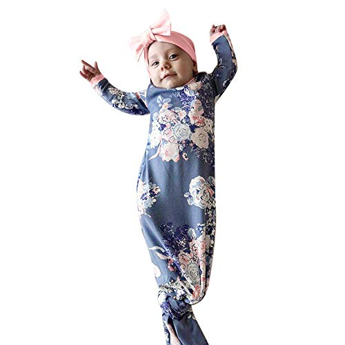 GoodLock Baby Boys Girls Swaddle Blankets Newborn Cocoon Sleeping Muslin Wrap Headband Set 2Pcs (Blue)