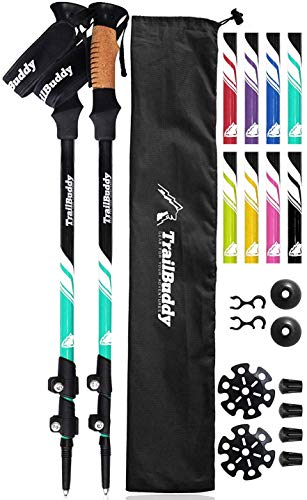 TrailBuddy Hiking Sticks - 2-pc Pack Adjustable Walking or Trekking Poles - Strong, Lightweight Aluminum 7075 - Quick Adjust Flip-Lock - Cork Grip, Padded Strap - (Aqua Sky)