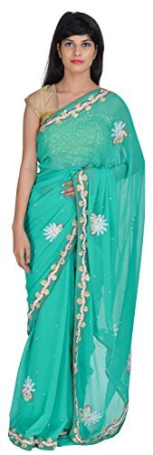 tanishq-designers-womens-georgette-saree-green
