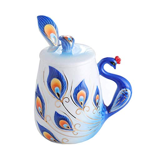 HAOCI Bone China Coffee Mug Hand Crafted Porcelain Enamel Graceful Peacock Tea Coffee Cup Set with Lid and Spoon Collectable Fine Arts Ceramic Cup 15.2oz (Blue)
