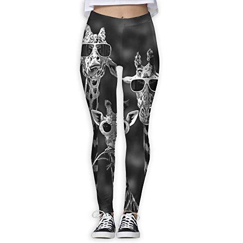 Womens Giraffe with Sun Glasses Funny Fitness Yoga Pants Sport Workout Lightweight Leggings
