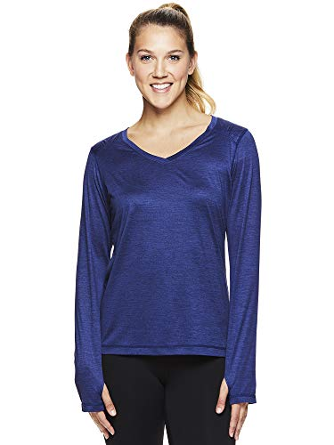 HEAD Women's Long Sleeve Workout T-Shirt - Performance Activewear Running & Gym Top - Perfect Match Medieval Blue Heather, Small