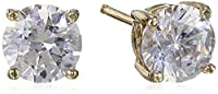 Platinum-Plated Sterling Silver Round Stud Earrings made with Swarovski Zirconia (2cttw)