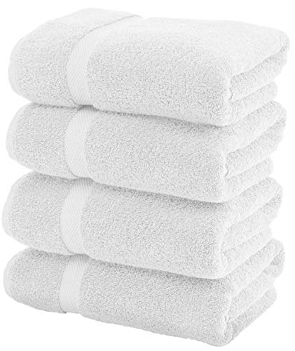 Luxury White Bath Towels Large - Circlet Egyptian Cotton | Highly Absorbent Hotel spa Collection Bathroom Towel | 27x54 Inch | Set of 4 ()