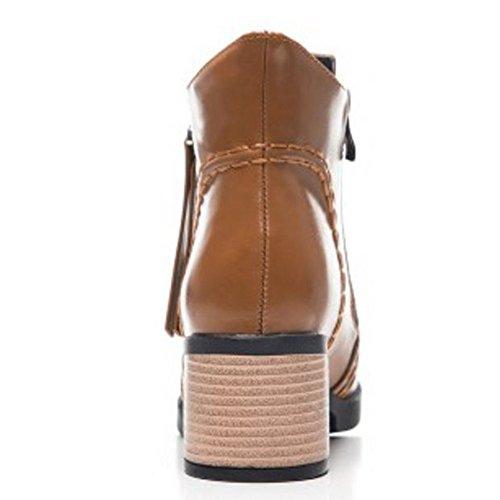 COOLCEPT Women Fashion Mid Heel Zipper Autumn Dress Boots Ankle High 38 Brown aNPSZ3Q