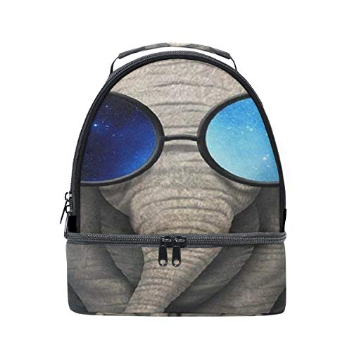 Elephant Sunglasses Lunch Box Insulated Lunch Bag Large Cooler Tote Bag for Men, Women, Double Deck Cooler
