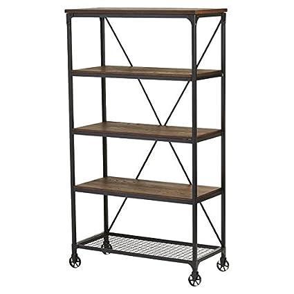 Amazon.com: Sleek Industrial Etagere Bookcase, 72\