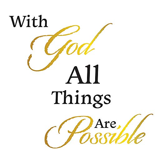 The Peel People with God All Things are Possible Peel and Stick Bible Verse Decal, Matthew 19:26 Inspirational Wall Art