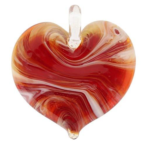 GlassOfVenice Murano Glass Venetian Marble Heart Pendant - Red