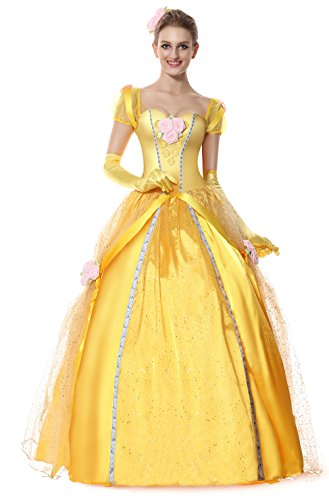 Cheap Princess Costumes For Adults (Sibeawen Women's Deluxe Princess Adult Plus Size Costumes Yellow Large/X-Large)