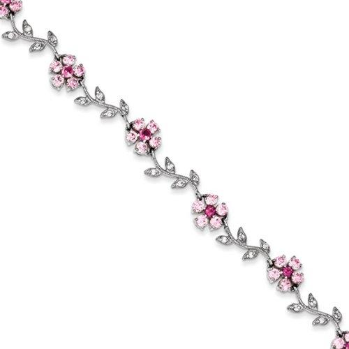 Icecarats Rose Créatrice De Bijoux En Argent Sterling 7.75Inch Et Bracelet Cz Fleur Clair 7,75 Pouces