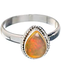 Natural Ethiopian Opal Ring Size 9 (925 Sterling Silver) - Handmade Jewelry RING879787