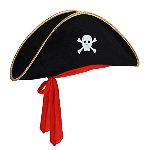 Vbiger Buccaneer Hat And Pirate Captain Eye Patches Halloween Costume Decoration (Buccaneer Hat Red (Halloween Pirate Hats)