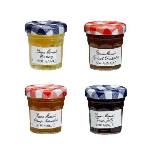 Bonne Maman Mixed (Honey, Apricot, Orange & Grape) Preserve Mini Jars - 1 oz x 60 pcs 4 - 15 Packs) (Jelly Mini)