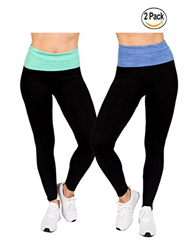 Elan Verve (2-Pack) Active Womens Light-Weight Fold Over High Waisted Workout Yoga Legging Pants by RAG (Small/Medium, Blue/Green) (Captain Sports Wrap Elastic Long)