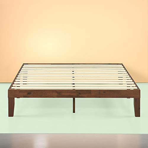 Zinus Marissa 12 Inch Wood Platform Bed / No Box Spring Needed / Wood Slat Support / Antique Espresso Finish, King