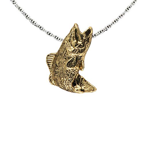 Largemouth Bass Fish Leaping 22k Gold Plated Pendant, Necklace, Jewelry, FG085PEN