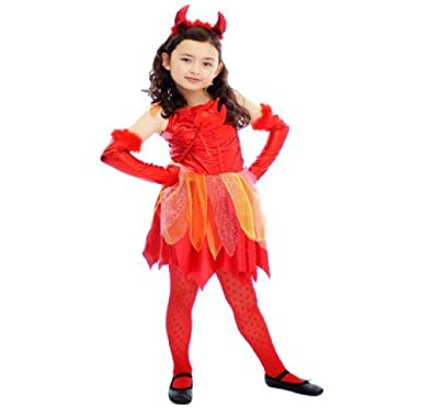 Kinder Mädchen Kostüm Roter Teufel Halloween Party Verkleidung ...