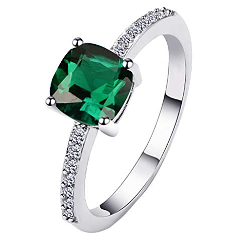 - FEDULK Womens Simple Jewelry Ring Geometric Side Square Ring Jewelry Wonderful Gift for Friend(8, Green)