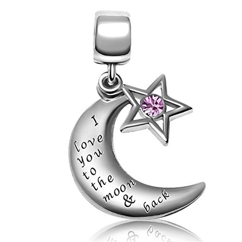 JMQJewelry I Love You To The Moon & Back Charms Mother's Beads For Bracelets