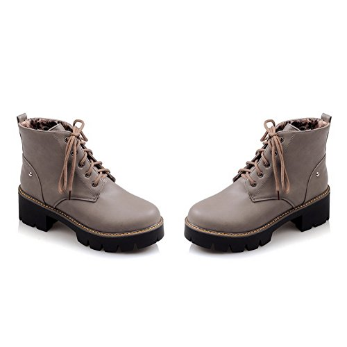Platform Gray Boots Color Ladies Heel A Leather Imitated amp;N Bandage Matching Thick Bottom xgw8TFqB