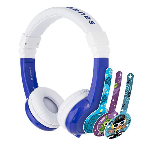BuddyPhones Explore Foldable - Kids Volume Limiting Headphones - Built-In Audio Sharing Cable and In-Line Mic - Compatible with Fire, iPad, iPhone, and Android Devices - Blue
