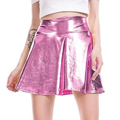 FOCUSSEXY Women's Shiny Metallic Wet Look Skirt Pleated Flared Skater Skirt