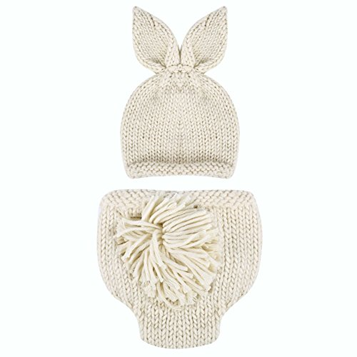 Easydeal Newborn Baby Boy Girl Handmade Rabbit Outfits Knitted Crochet Photography Props Bunny Hat Pompom Pants Set (0-2M)