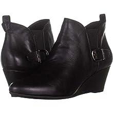 Anne Klein Womens Abilene Leather Almond Toe Ankle Fashion, Black, Size 9.5