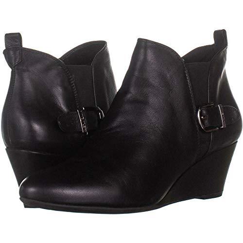 Anne Klein Womens Abilene Ankle Leather Booties Black 9 Medium (B,M)